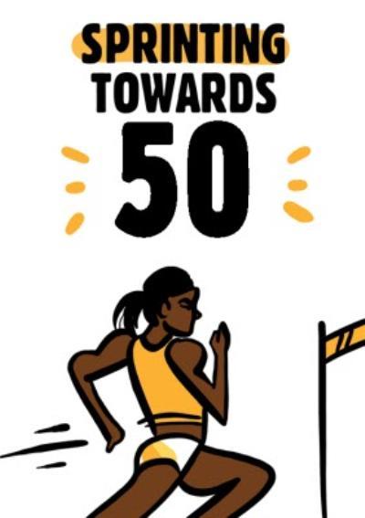 Olympic Female Sprinter 50th Birthday Card
