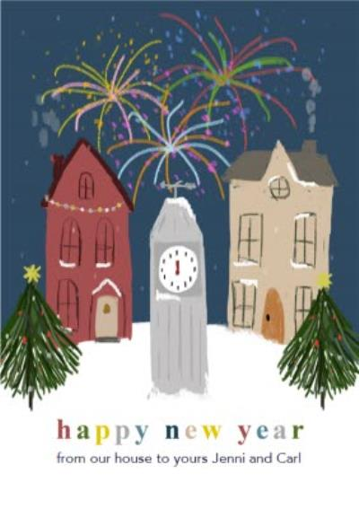 Sketched Happy New Year Town Scene Card