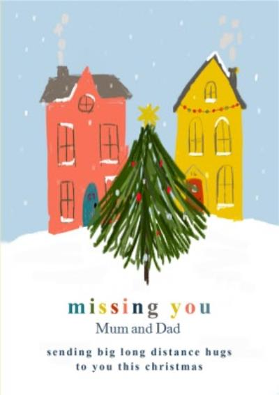 Sketched Long Distance Hugs Missing You At Christmas Card