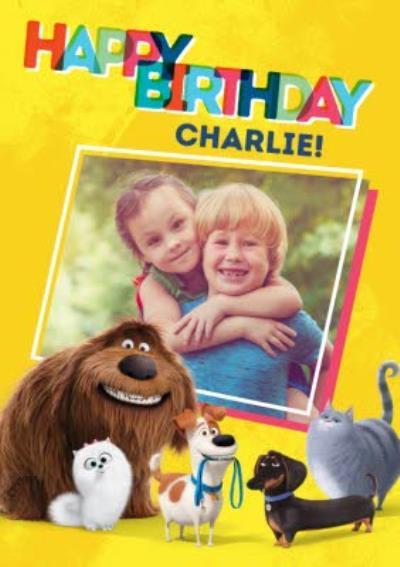 Universal Secret Life Of Pets 2 kids Birthday photo upload Card