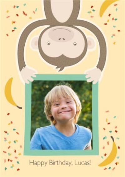 Cartoon Monkey Happy Birthday Photo Card