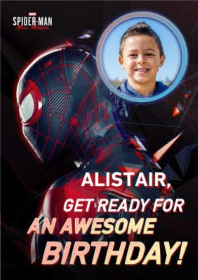 Marvel Spiderman Miles Morales Awesome Birthday Photo Upload Card