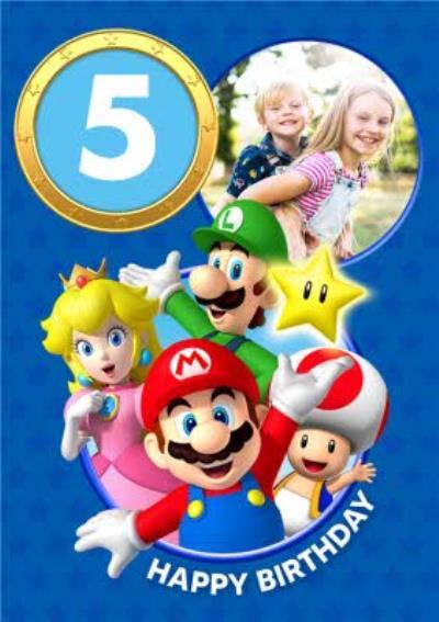 Nintendo Super Mario 5th Birthday Photo Upload Card