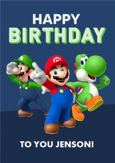 Nintendo Super Mario Luigi Toad Birthday Card