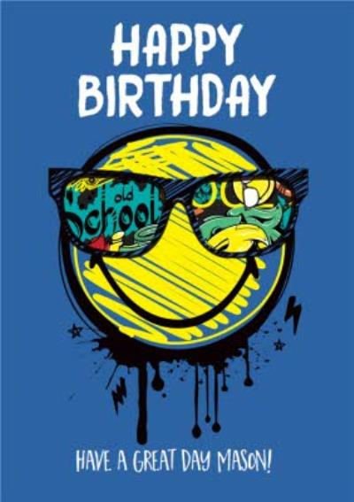 Smiley World Cool Modern Graffiti Happy Birthday Card