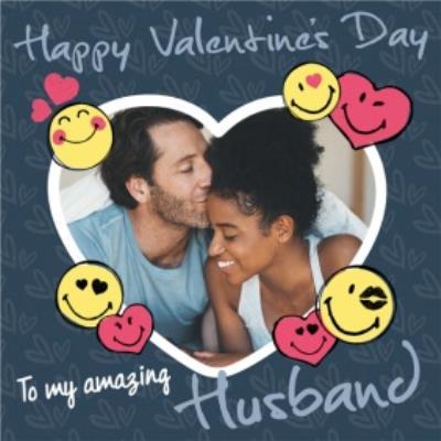 Smiley World Happy Valntines Day To My Amazing Husband Photo Upload Valentines Card