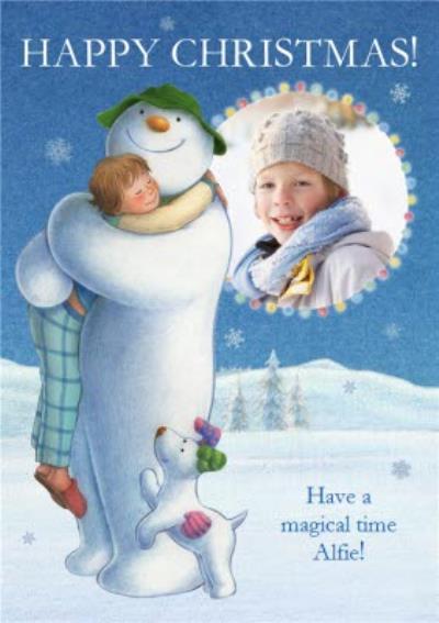 The Snowman Hug Personalised Photo Upload Happy Christmas Card