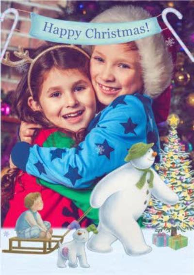 The Snowman Sledge Ride Photo Upload Christmas Card