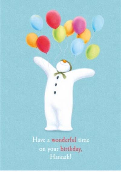 The Snowman Balloons Birthday At Christmas Personalised Card