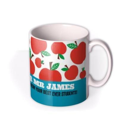 Top Teacher Apple Print Personalised Mug