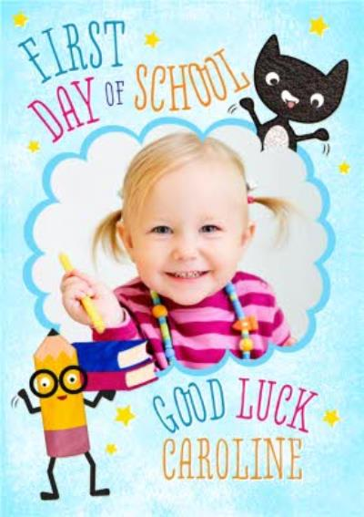 Cat And Pencil Characters Personalised Photo Upload First Day Of School Card