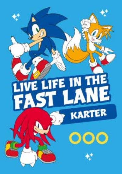 Sega Sonic Characters Kids Live Life In The Fast Lane Card