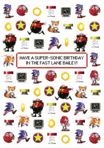 Sega Sonic Pixel Art Supersonic Birthday Card