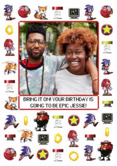 Sega Sonic Pixel Art Icons Photo Upload Birthday Card