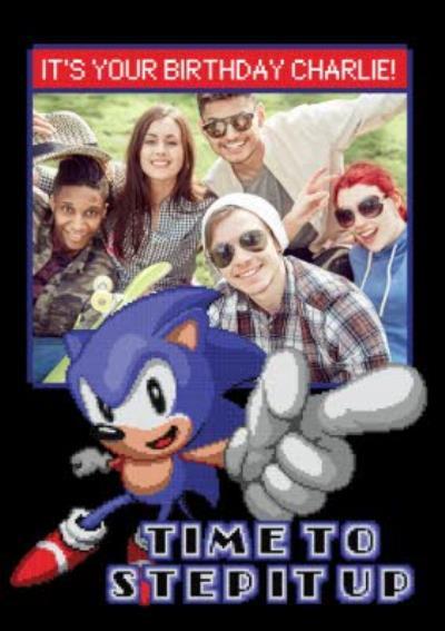 Sega Sonic Pixel Art Time To Step It Up Photo Upload Card