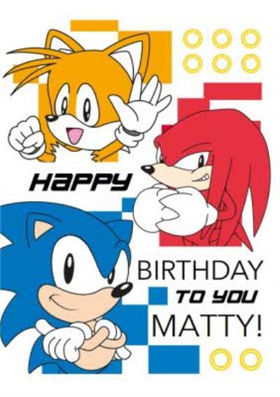 Sega Sonic Happy Birthday To You Card