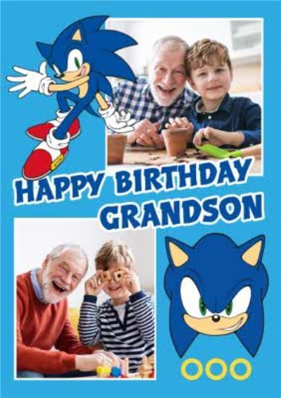 Sega Sonic Happy Birthday Grandson Photo Upload Card