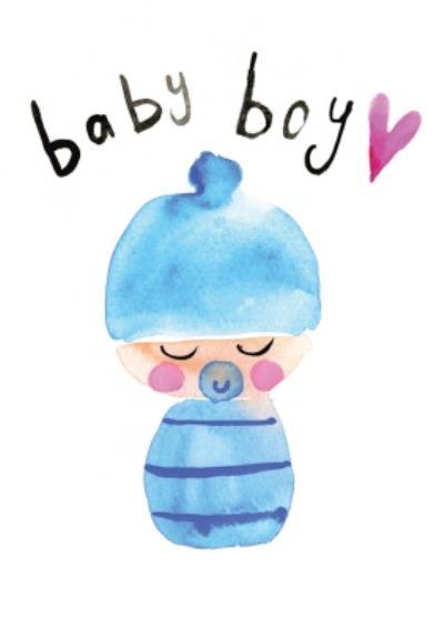 Cute Illustrated Baby Boy Card