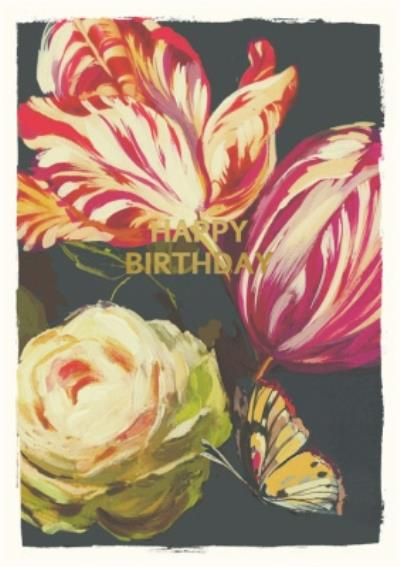 Illustrated Flowers Happy Birthday Card