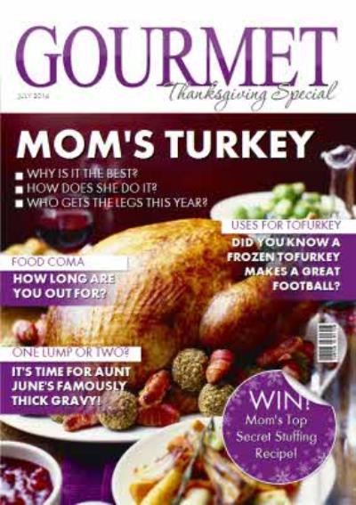 Gourmet Mom's Turkey Spoof Magazine Happy Thanksgiving Card