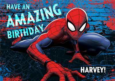 Marvel Spiderman Personalised Have An Amazing Birthday Card