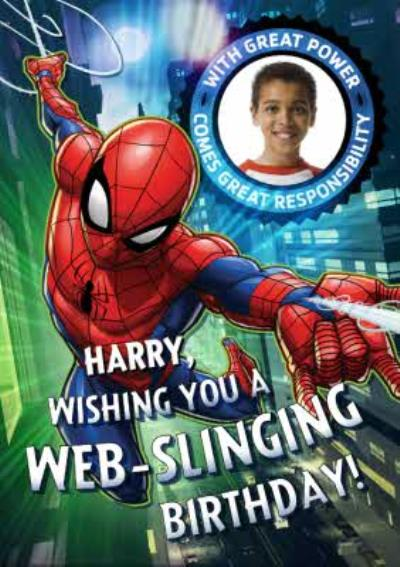 Marvel Spiderman Have A Web-Slinging Birthday Photo Card