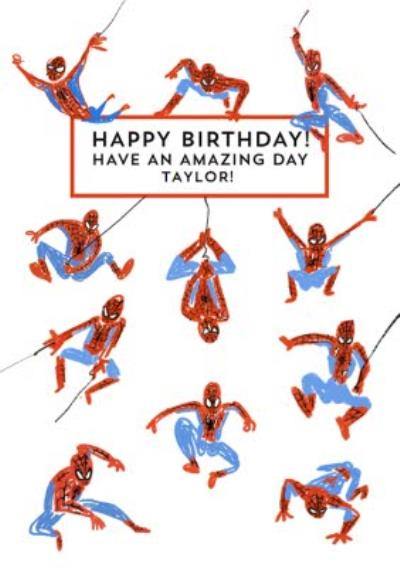 Marvel Spiderman funny illustrated Birthday Card