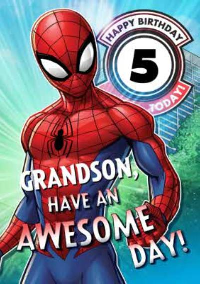 Marvel Spiderman Personalised Have An Awesome 5th Birthday Grandson Card