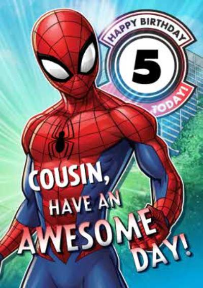 Marvel Spiderman Personalised Have An Awesome 5Th Birthday Cousin Card