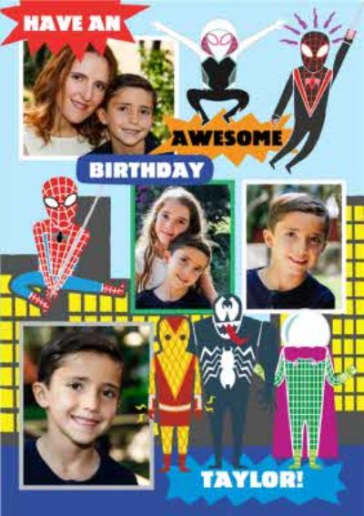 Marvel Spiderman Characters Photo upload Birthday Card