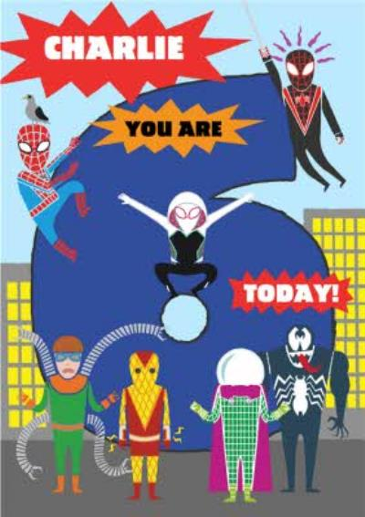 Marvel Spiderman CharactersYou are 6 Today! Birthday Card