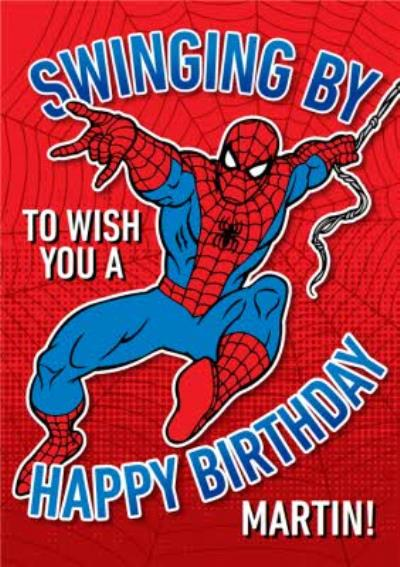 Marvel Spiderman Swinging By To Wish You A Happy Birthday Card