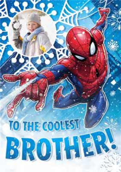 Marvel Spiderman Coolest Brother Photo Upload Christmas Card