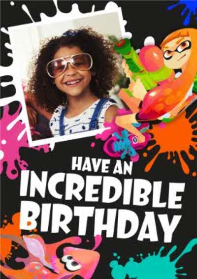 Nintendo Splatoon Incredible Photo Upload Birthday Card