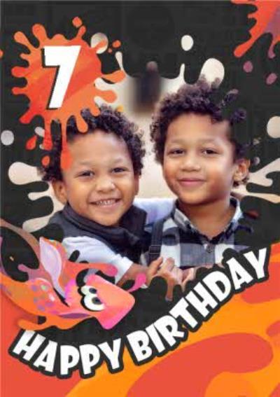Nintendo Splatoon 7 Photo Upload Birthday Card