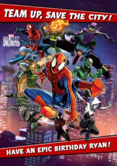 Marvel Spiderman Unlimited Gaming Epic Birthday Card