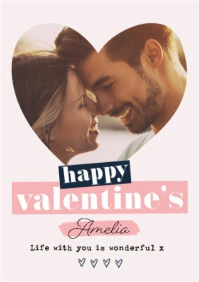 Life With You Is Wonderful Photo Upload Valentine's Day Card