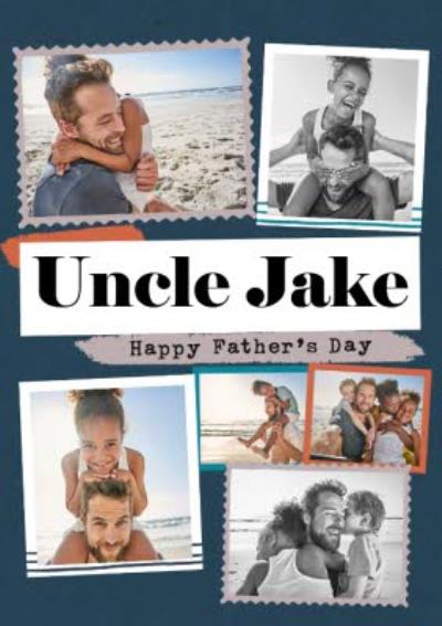 Modern Photo Upload Collage Uncle Father's Day Card