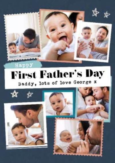 Modern Photo Upload Collage Father's Day Card
