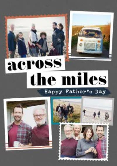 Modern Photo Upload Collage Across The Miles Father's Day Card