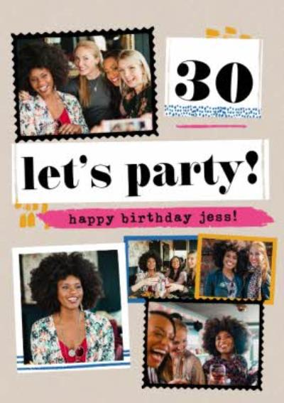 Modern Photo Upload Collage 30th Let's Party Birthday Card