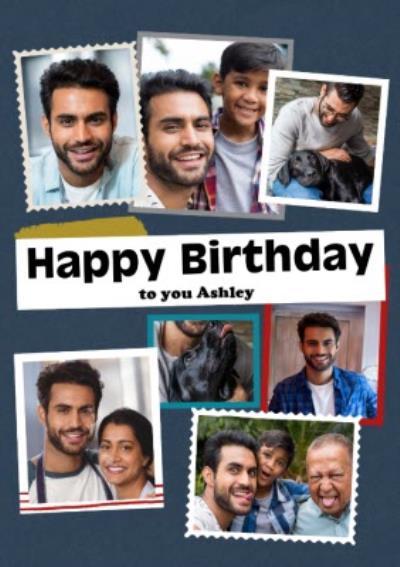 Modern Photo Upload Collage Happy Birthday Card