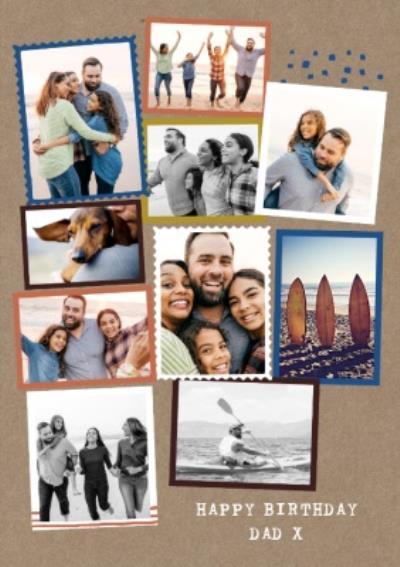 Modern Photo Upload Collage Happy Birthday Dad Card