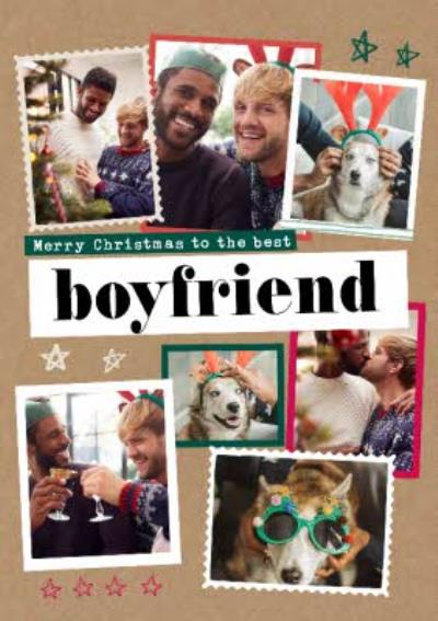 Modern Photo Upload Collage Bestest Boyfriend Christmas Card