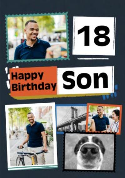 Modern Photo Upload Collage Son Birthday Card
