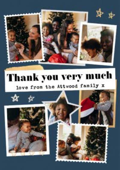 Modern Photo Upload CollageThank You Very Much Christmas Thank You Card