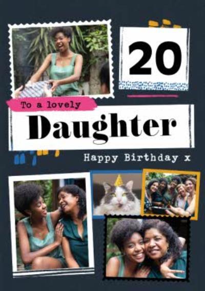 Modern Photo Upload Collage Daughter Birthday Card