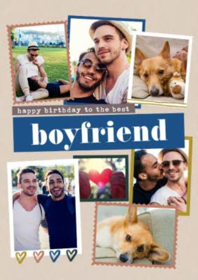 Modern Photo Upload Collage Happy Birthday To The Best Boyfriend Card