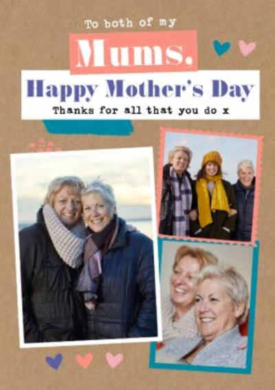 Modern Photo Upload Collage Two Mums Same Sex Parents LGBTQ+ Mothers Day Card