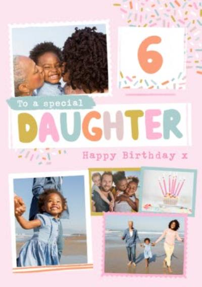 Modern Photo Upload Collage To A Special Daughter Happy Birthday Card